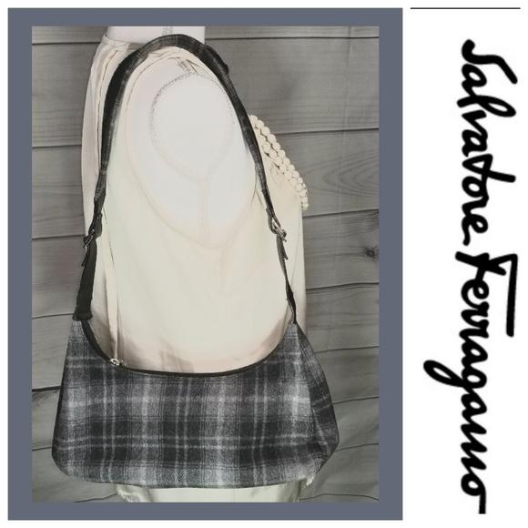 Salvatore Ferragamo Handbags - Salvatore Ferragamo Gray Plaid Deadstock Bag Used